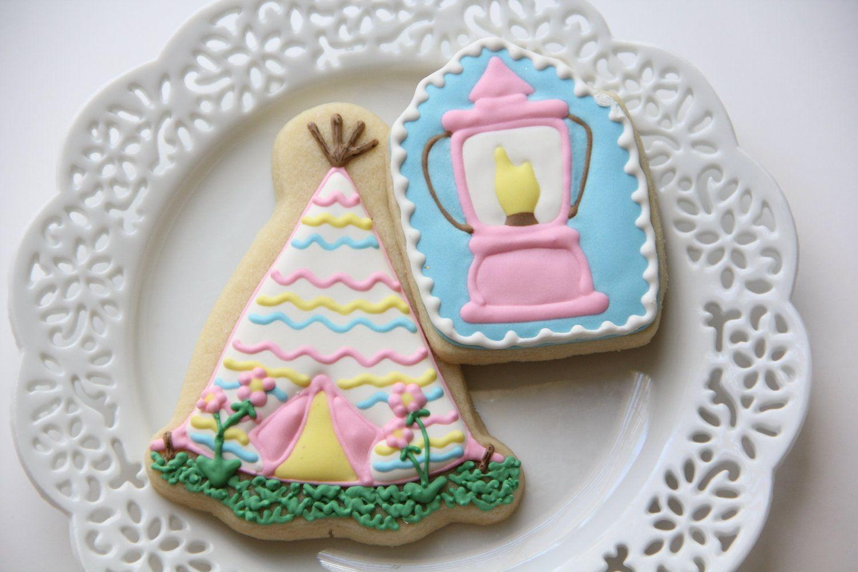 Girly Camping Tent & Lantern Sugar Cookies  (1 dozen). $34.00, via Etsy.