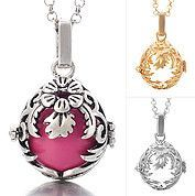 Open Floral Angel Locket SMALL, INCLUDES CHIMER