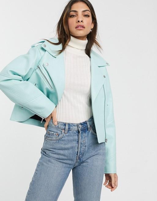 Urbancode faux leather biker jacket in bright mint ASOS