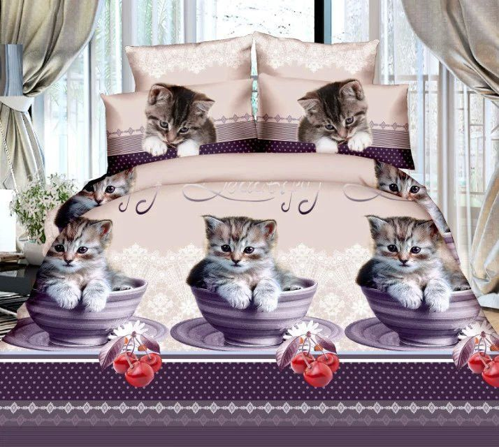 Embroidery Black White Cats Kitty Duvet Quilt Cover Bed Sheet Set Pillowcases