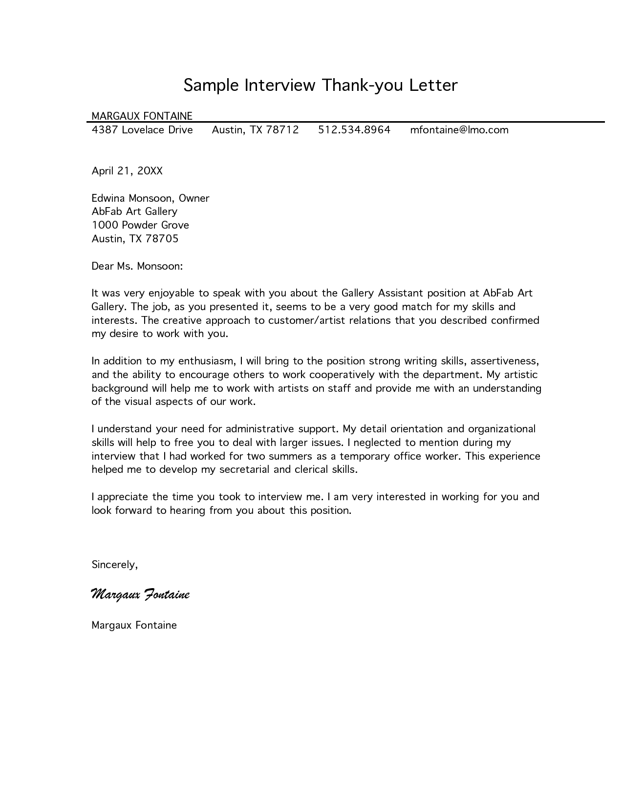 Free Letter Of Interest Templates Sample Interview Thank