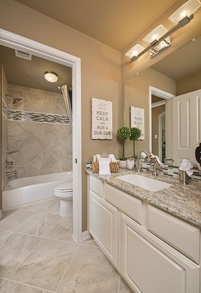 Westin Homes   Bridgeland   New Homes Houston   The Hopkins   Bathroom    Light And Bright   Granite Counter Tops   Stainless Steel Faucet   Tropical  Grey ...