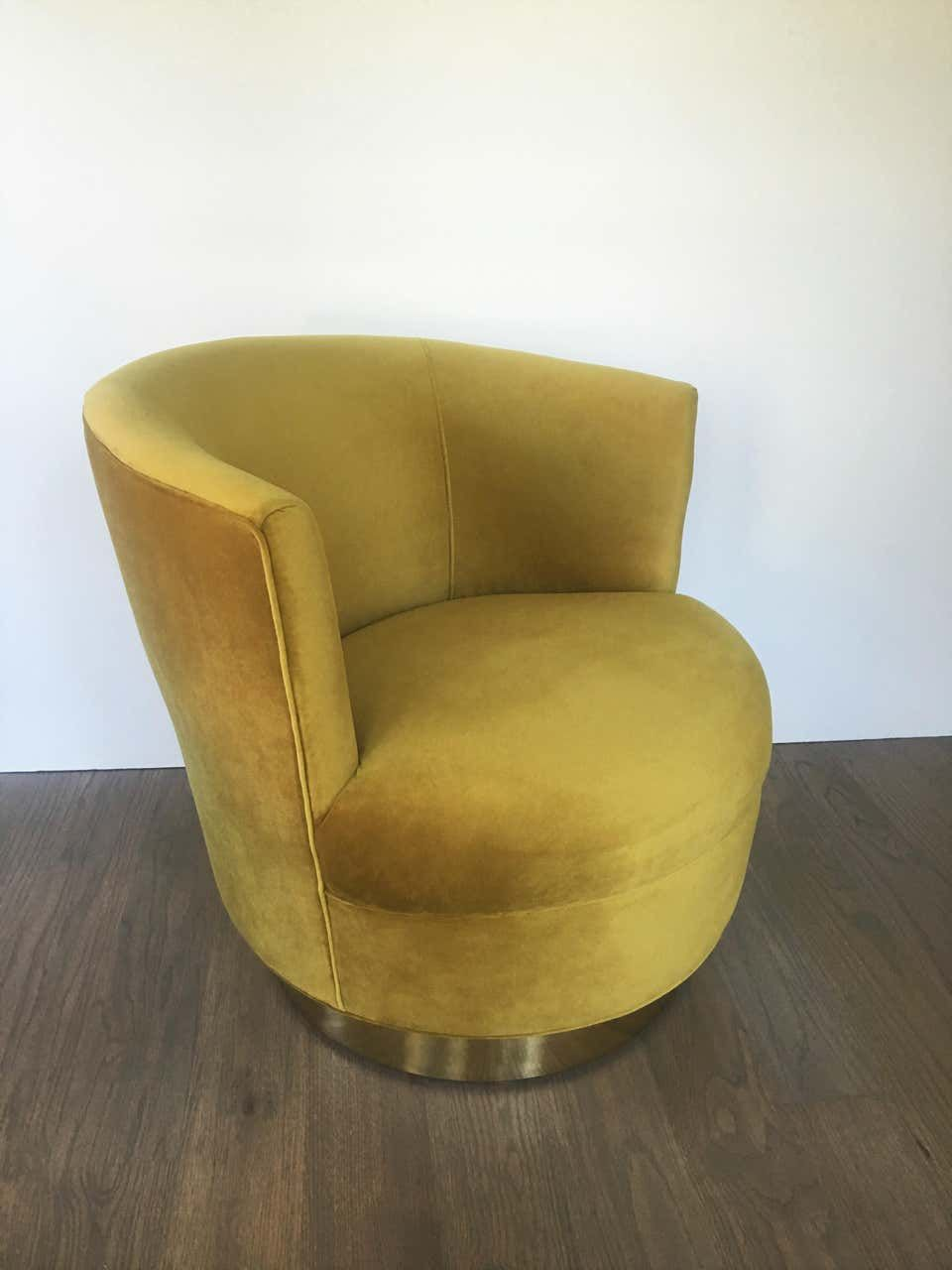 Vintage Modern Velvet And Brass Swivel Club Chairs, Pair ...