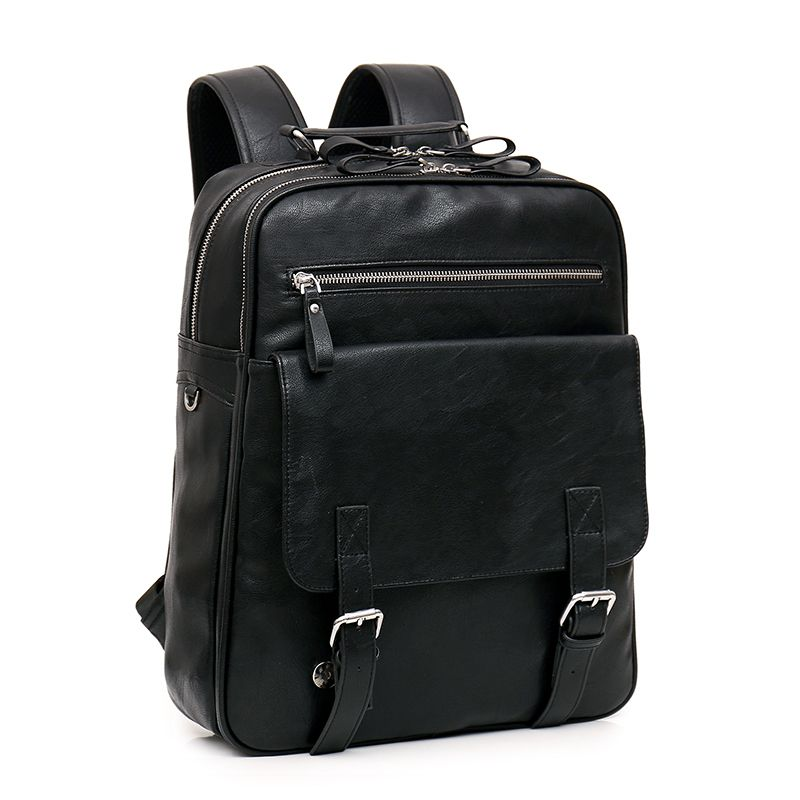 (Buy here: http://appdeal.ru/mhp ) Men's Leather Motorcycle Backpack Laptop For College Bookbag School Black Rucksacks Sac A Dos Mochilas De Couro Homem Masculina for just US $60.37