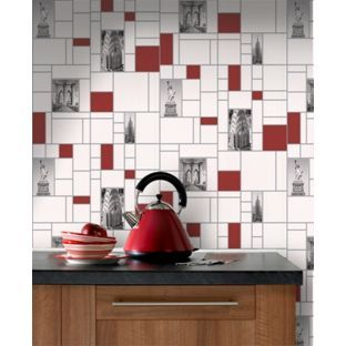 Pinforpoints Just One Roll 15 99 Because I Would Use It Just On One Feature Wall Contour Nyc Tile Wallpaper Red Black Whi Tile Wallpaper House Homebase
