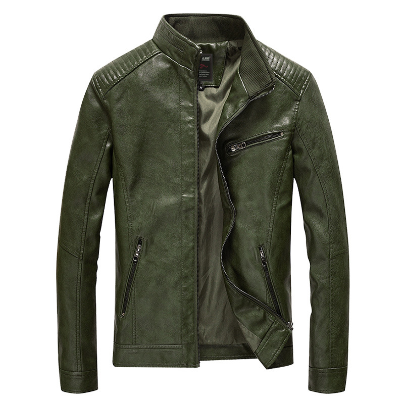 Green Faux Leather Jacket Men Padded Thin Velvet