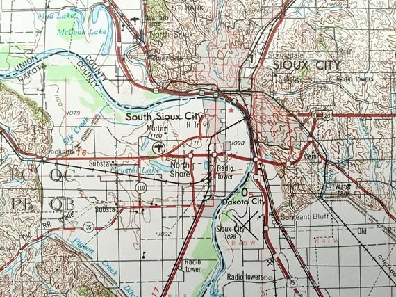 Antique Sioux City Iowa 1955 Us Geological Survey Topographic Map