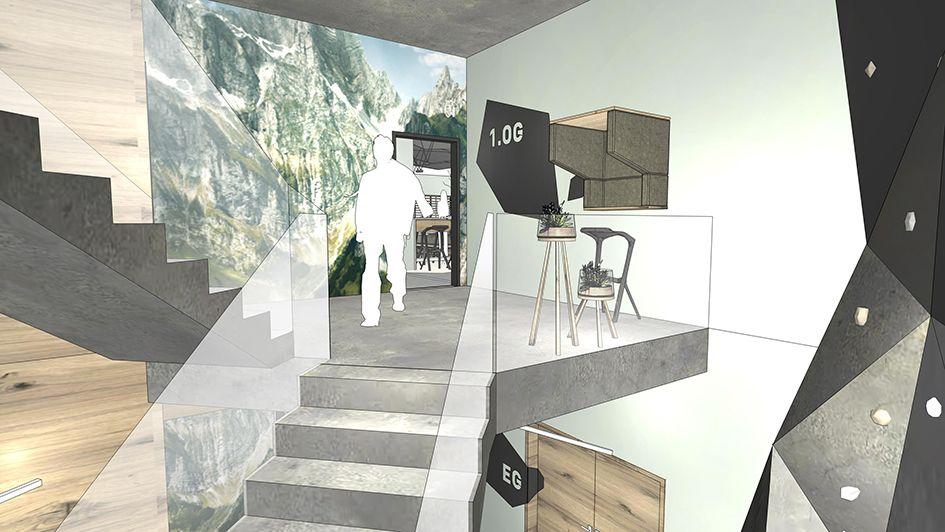 innenarchitektur: planung eines treppenaufgangs mit kleinem, Innenarchitektur ideen