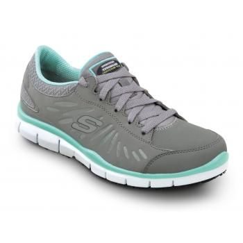 259f40716da8 Skechers SSK405GYTQ Stacey Grey Turquoise Soft Toe
