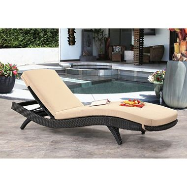 Atlantic Espresso Wicker Outdoor Chaise Lounge With Cushions Abbyson Living Chaise Lounge Cushions Patio Furniture Chaise Lounge
