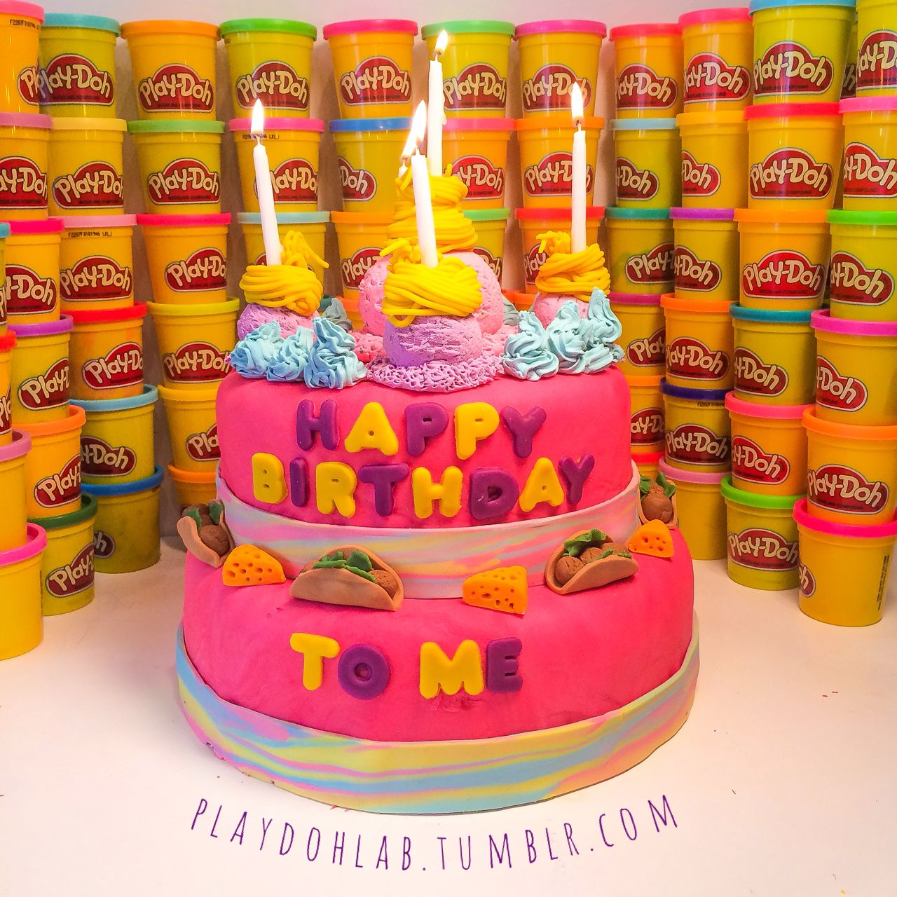 Happy birthday to me my dream playdoh cake pink for Play doh cuisine