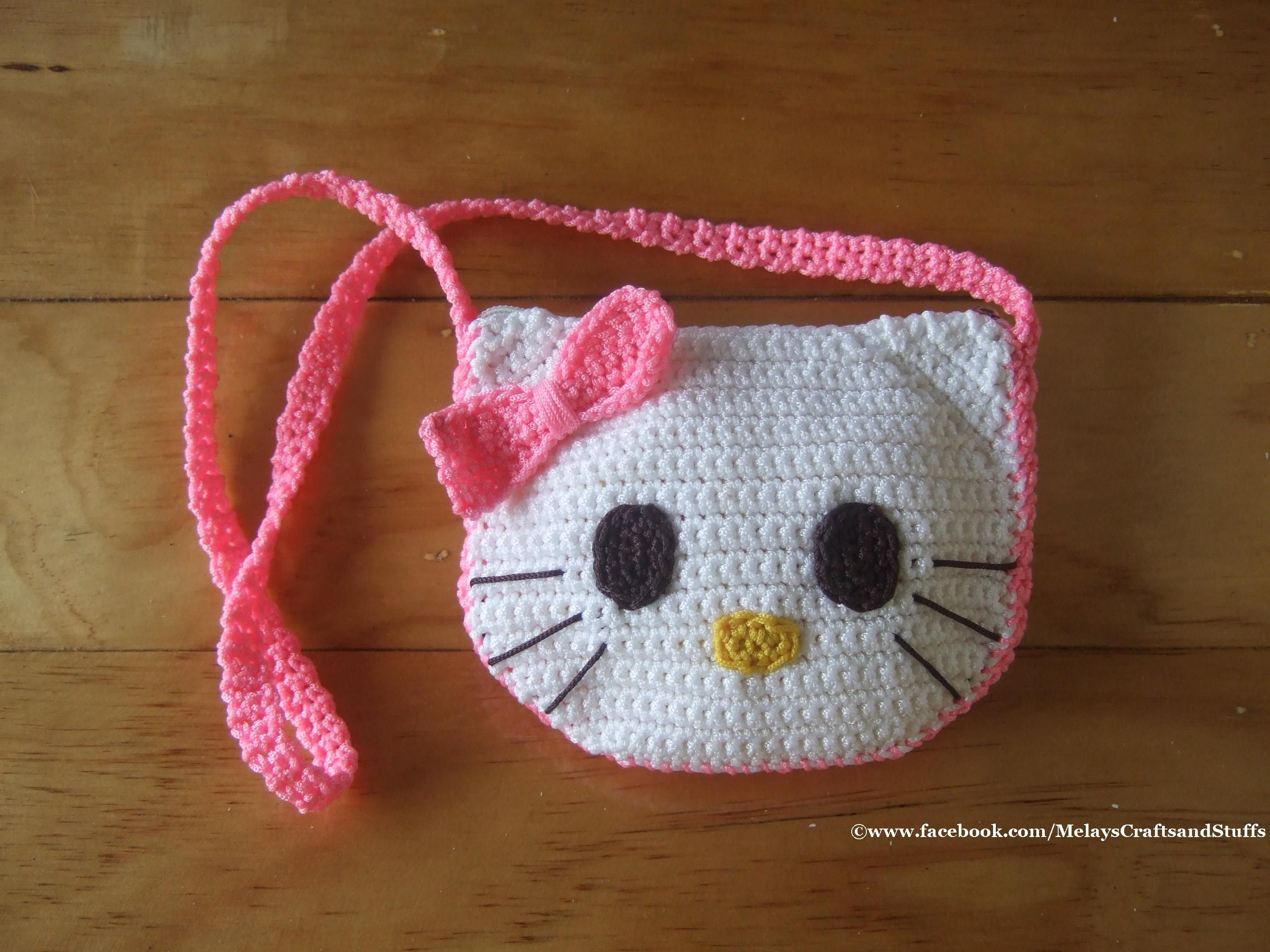 Crochet Hello Kitty Purse / Bag follow me @ https://www.facebook.com ...