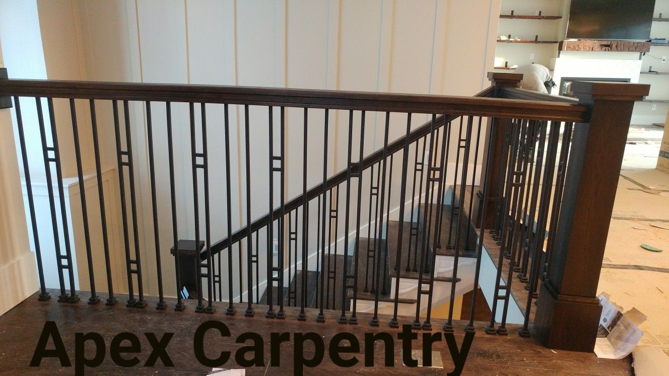 Best We Used Aalto Iron Balusters With Hickory Home 400 x 300