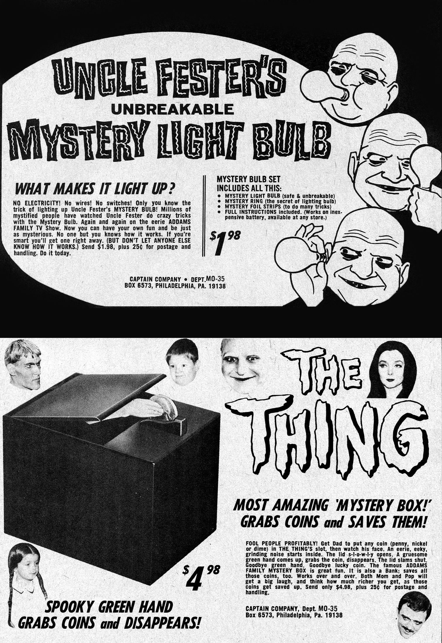 Uncle fester the addams family pinterest - The Addams Family Toys 1967 Uncle Fester S Unbreakable Mystery Light Bulb 1966 The Thing