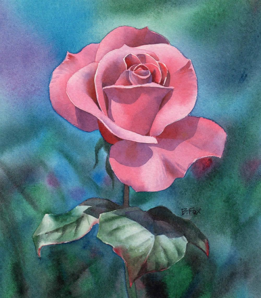 How to watercolor a rose