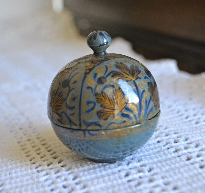 LITTLE BLUE BOX Vintage Paper Mache Trinket Jewelry Box in the Shape