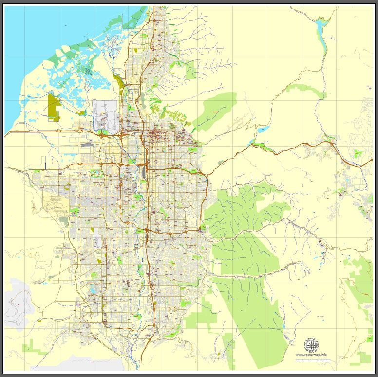 Salt Lake City Utah printable vector street City Plan map V3