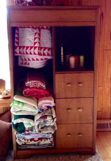 Vintage Wardrobe - Refinished, Removed Doors, and Added Decorative Drawer Pulls - Repurposed as Quilt & Linens Cabinet