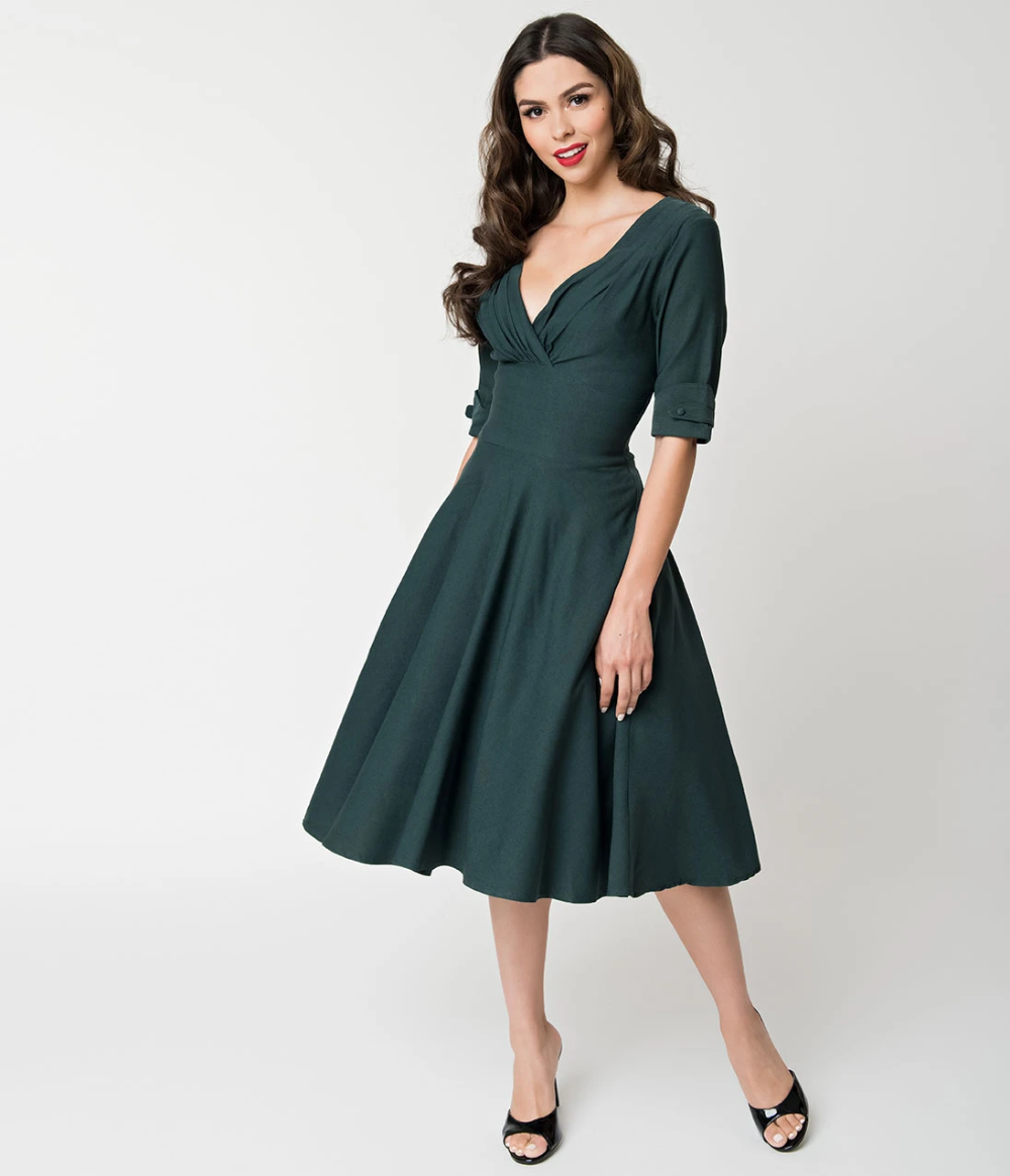 Unique Vintage 1950s Dark Green Delores Swing Dress With Sleeves Swing Dress With Sleeves Swing Dress Dresses With Sleeves [ 1164 x 1000 Pixel ]