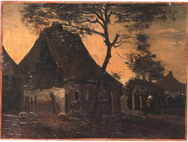 Painting, Oil on Canvas on panel Nuenen, The Netherlands: June, 1885 Wallraf-Richartz-Museum Cologne, Germany, Europe Cottage with Trees Van Gogh Gallery