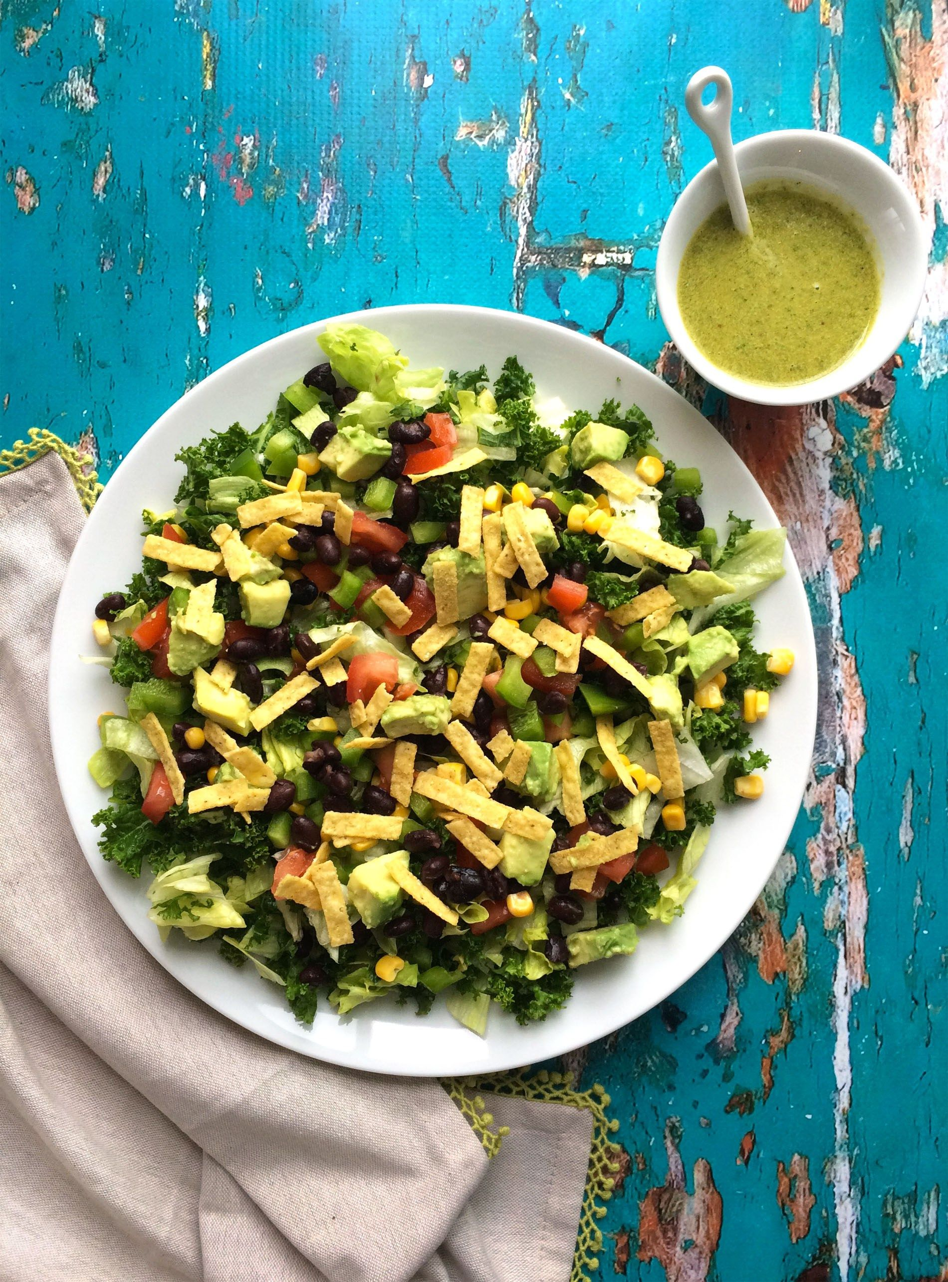 Mexican Salad With Kale And Santa Fe Dressing (Vegan +
