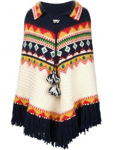Saint Laurent fair isle knit poncho | Fair isle knitting and Products