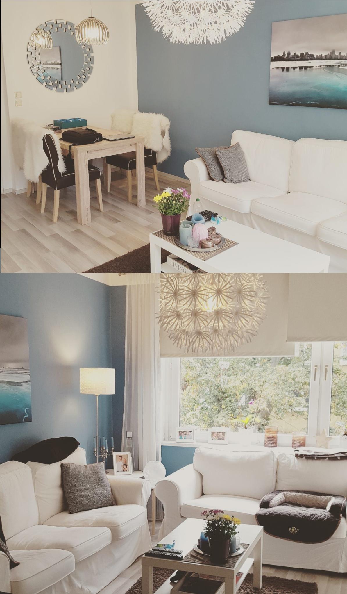 Wohnzimmer spiegelmöbel interior  wohnen karibik blaues wohnzimmer mit ikea möbeln ektorp