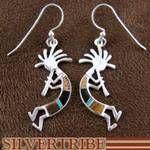 Multicolor Inlay Jewelry Sterling Silver Kokopelli Earrings