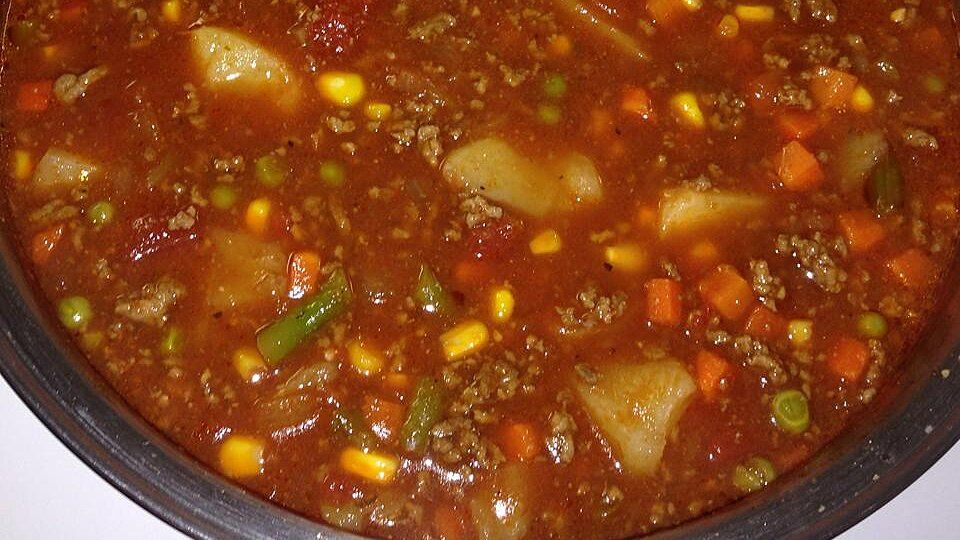 Ground Beef Vegetable Soup Recipe In 2020 Easy Soup Recipes Vegetable Soup Recipes Soup