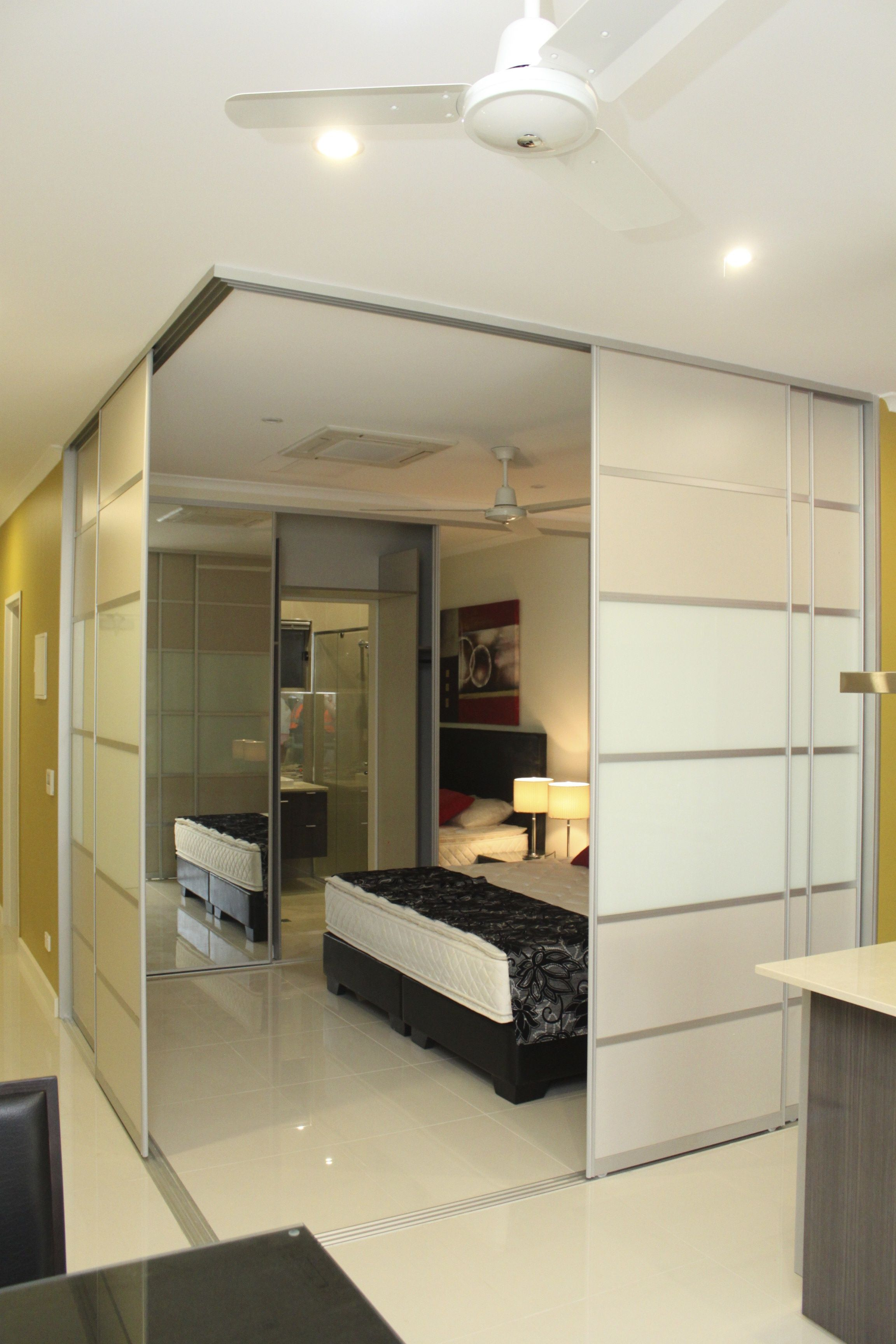 Our Sliding Doors Are Being Used As Wall Dividers Combining White Glass With Beige Panels House Styles Sliding Wardrobe Doors Home