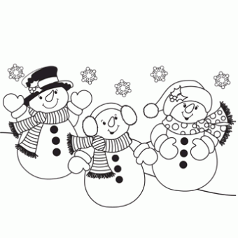 Three Snowmen Coloring Page - Free Christmas Recipes, Coloring ...