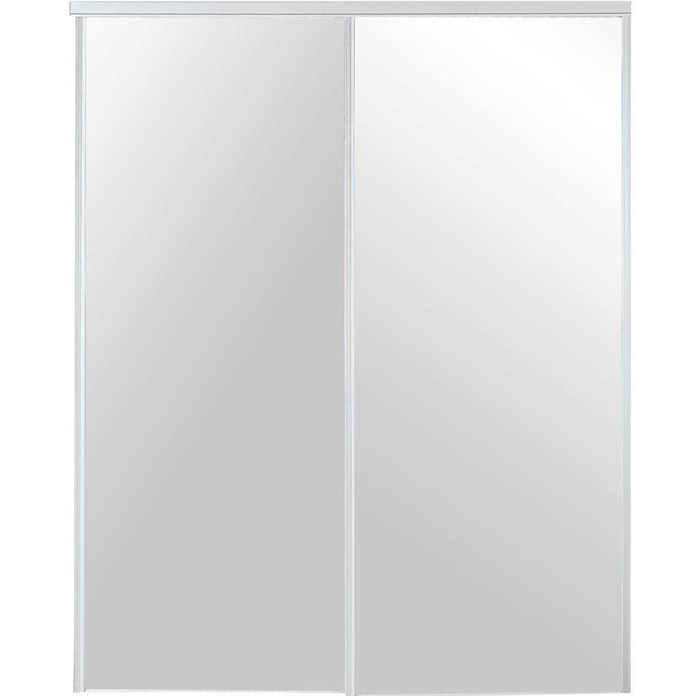 Truporte 96 In X 96 In White Mirror Steel Framed Sliding Door 230 The Home Depot Sliding Doors Interior White Mirror Mirror Interior