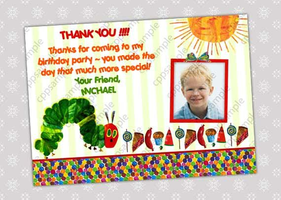 Very Hungry Caterpillar Thank you card by CreativePartyPixels