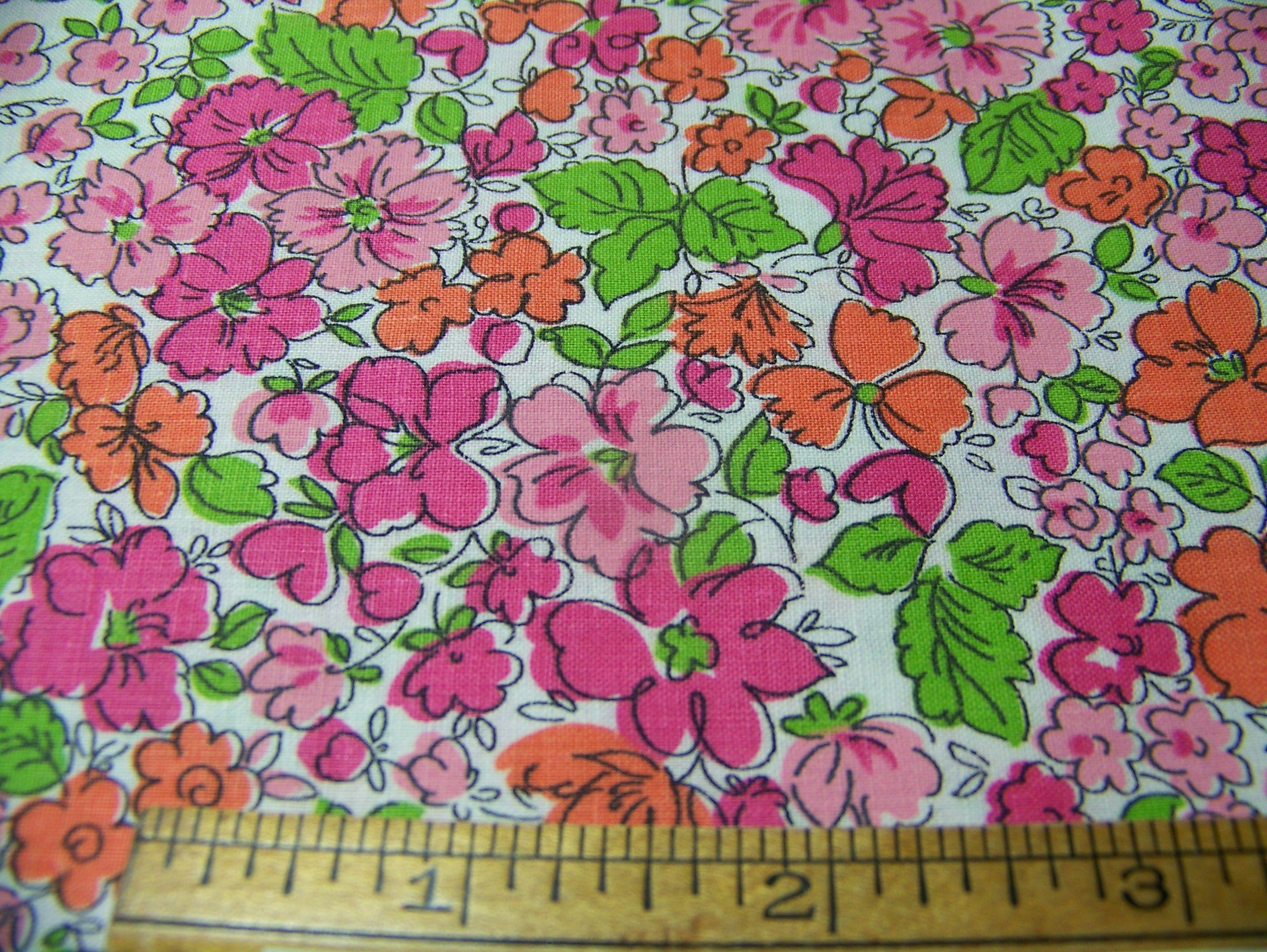 Vintage 1940/'s Floral Fabric ~ Pink Magenta Blue Green on Black