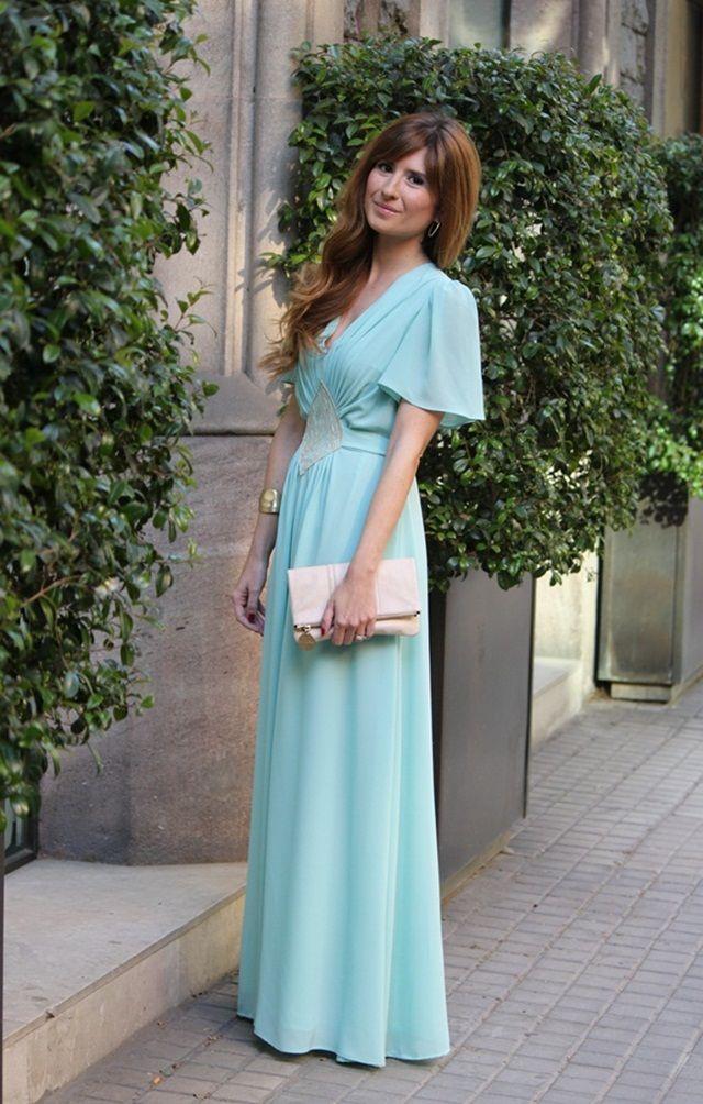 vestido largo de fiesta verde agua | hermana de la novia | vestidos