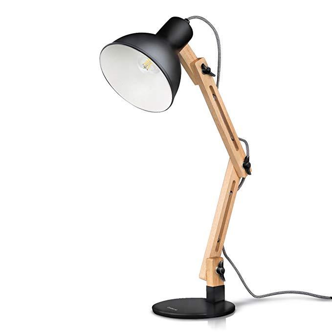 Amazon Com Tomons Swing Arm Led Desk Lamp Wood Designer Table Lamp Reading Lights For Living Room Bedroom Study O Desk Lamp Led Desk Lamp Table Lamp Wood