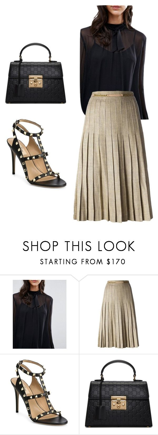 """Silk blouse & Midi skirt evening look"" by tanzworldd ❤ liked on Polyvore featuring Greylin, CÉLINE, Valentino and Gucci"
