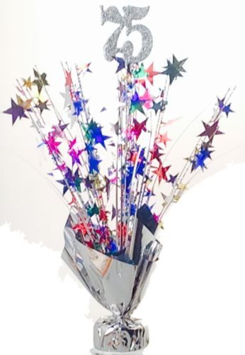 2 Metallic Multicolor 75th Anniversary Or Birthday Balloon Weights 15 Tall