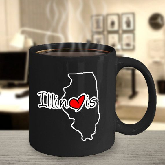 Unique State Outline Heart Coffee Mug Illinois By HopeJoyGifts