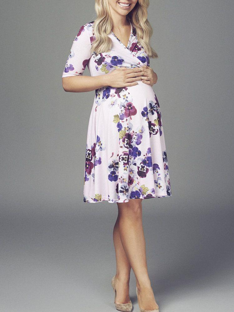 Maternity V Neck Half Sleeve Printed Dress Dresses For Pregnant Women Dresses Maternity Dresses