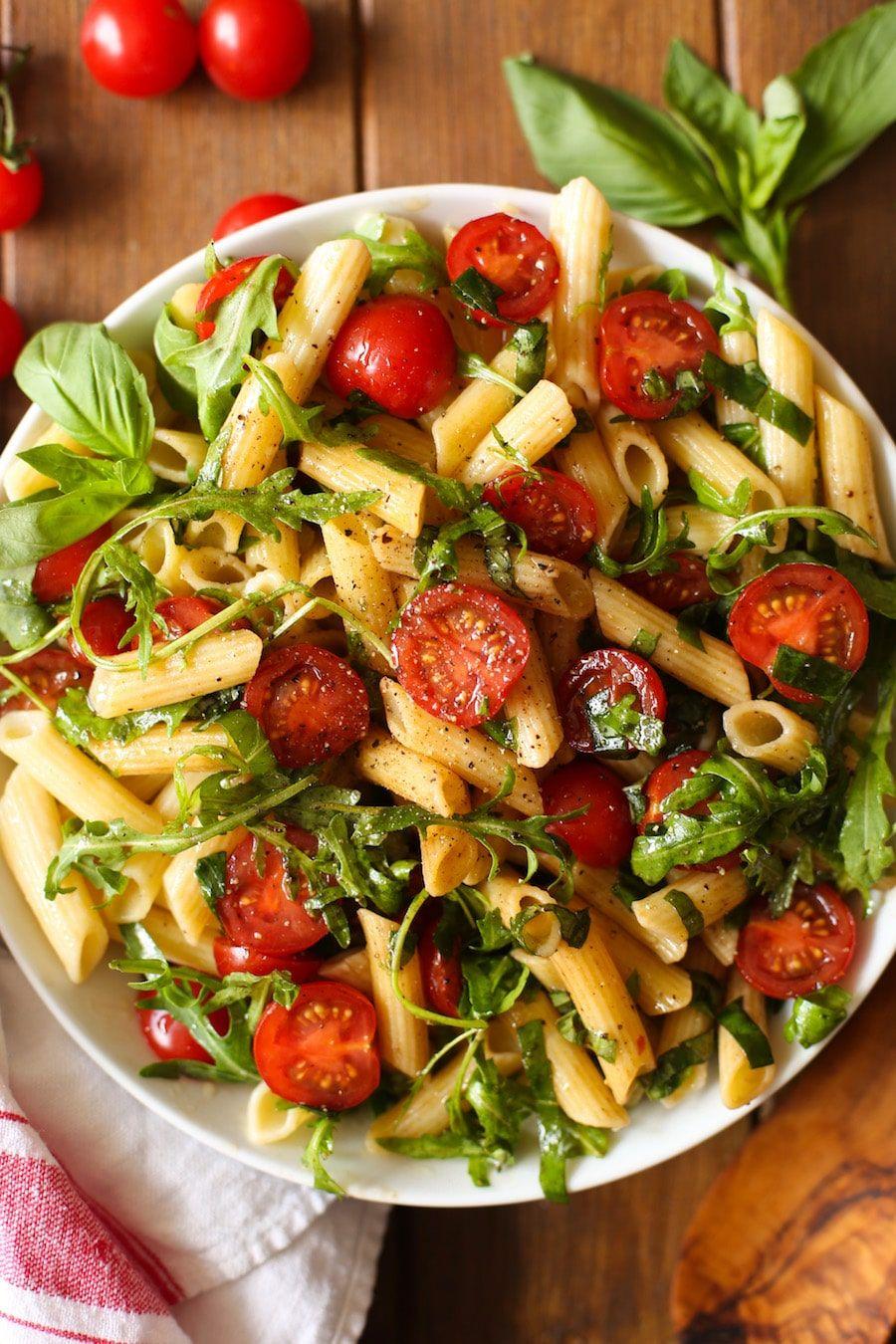 Tomato Arugula Balsamic Pasta Salad