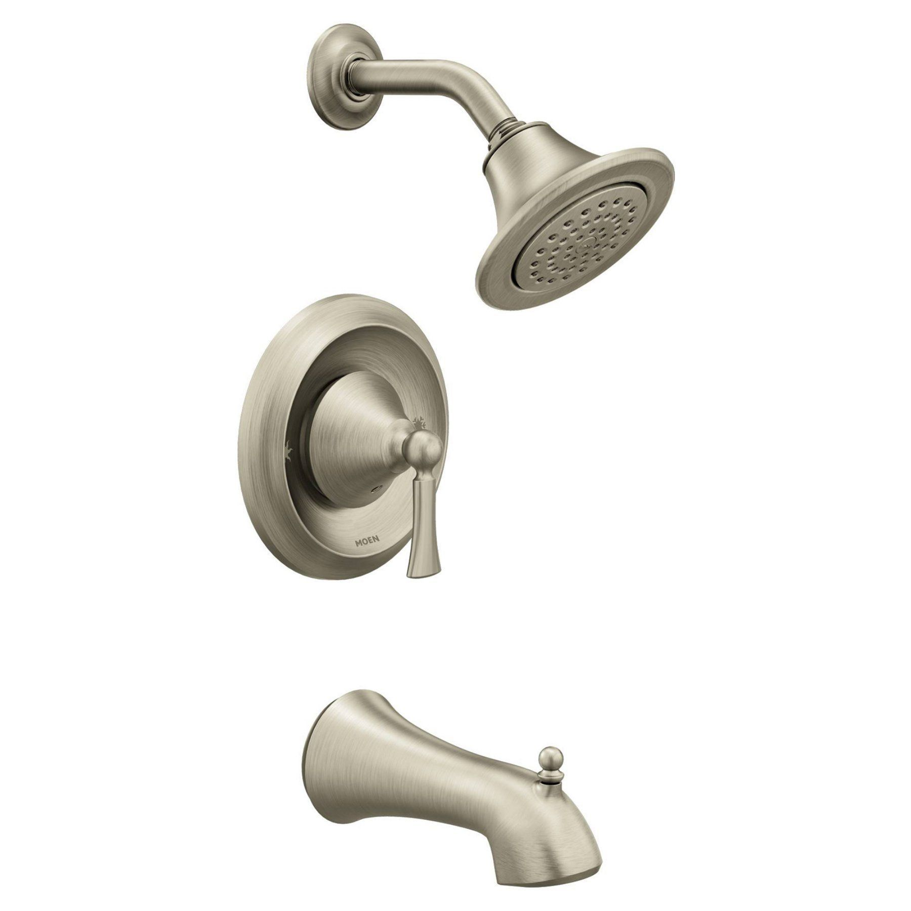 Moen Wynford Brushed Nickel Posi Temp Tub Shower Mt4503bn Products Shower Faucet Shower Tub Tub Shower Faucets