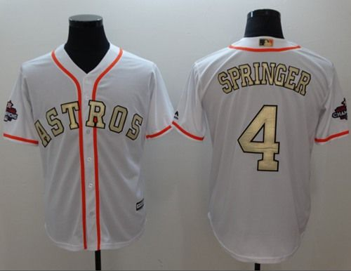 67f92a6bf5c Astros #4 George Springer White 2018 Gold Program Cool Base Stitched MLB  Jersey