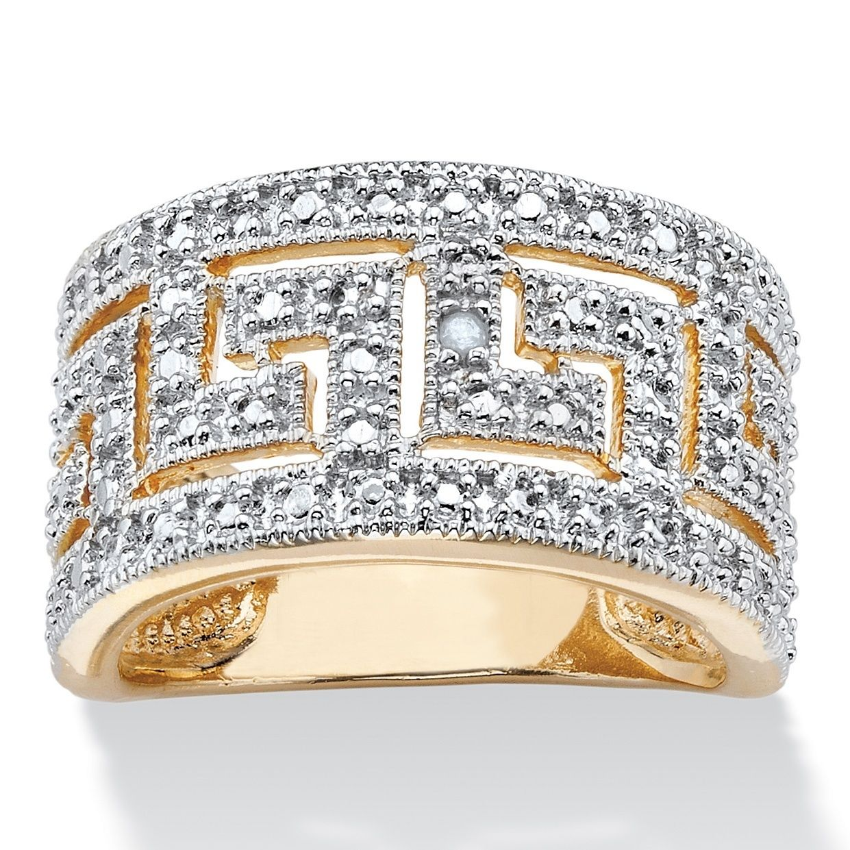 Palm beach jewelry palmbeach 18k yellow gold overlay round diamond palm beach jewelry palmbeach 18k yellow gold overlay round diamond accent greek key cutout dome ring biocorpaavc