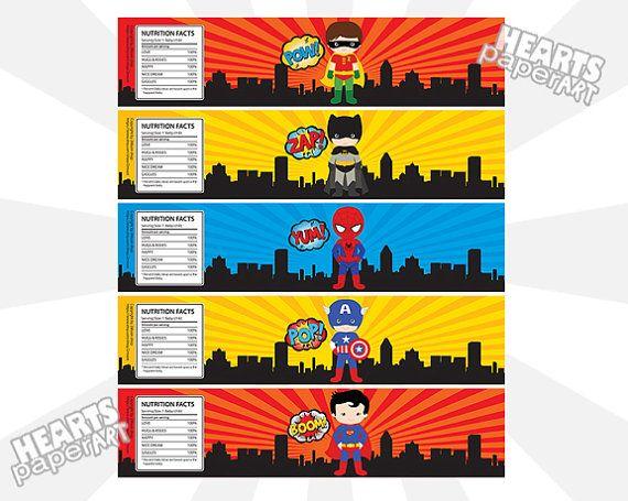 Free Printable Superhero Water Bottle Labels | spider girl cake ...
