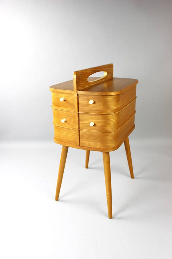 Vintage sewing box sewing box sewing table coffee table wood sewing ...