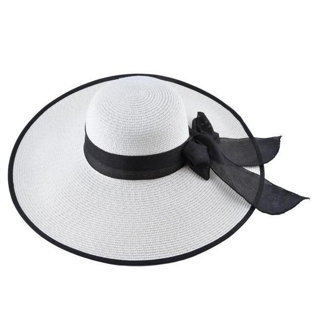 1382b1b41 Fashion Straw Hat For Women Summer Casual Wide Brim Sun Cap With Bow ...