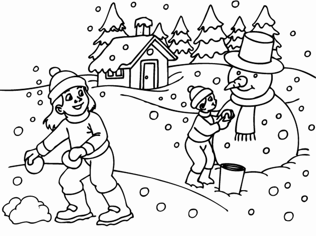 Snow Scene Coloring Page Luxury Coloring Coloring Winter Page