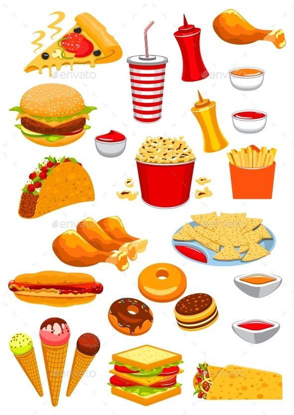 Fast Food Vector Isolated Icons Of Hamburger Or Cheeseburger