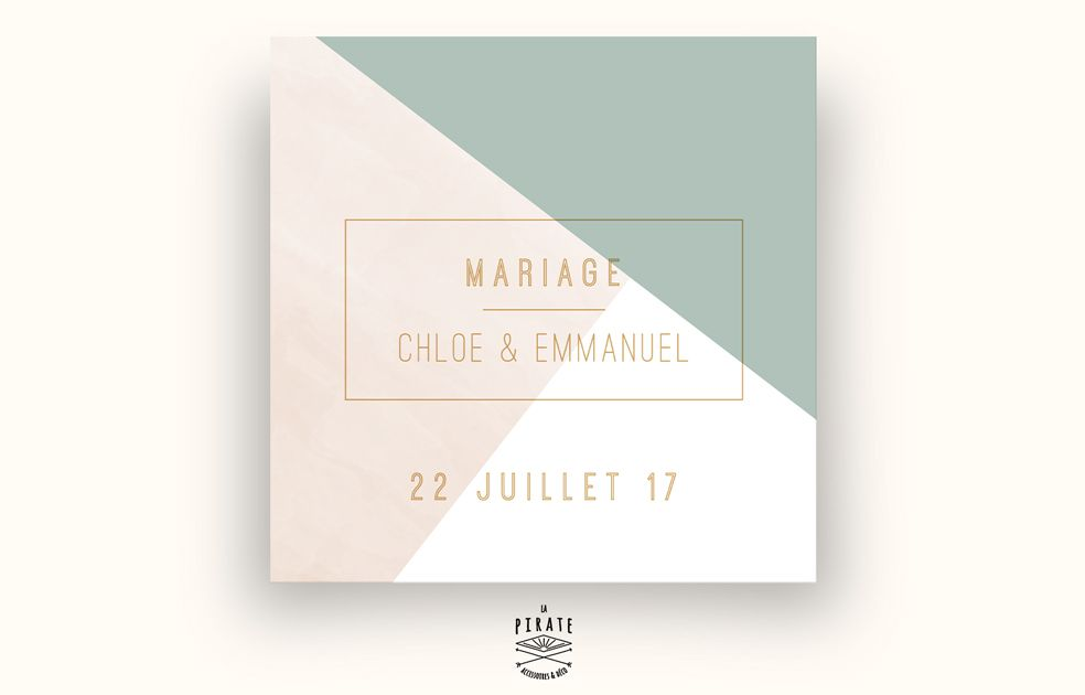 Faire-Part Mariage graphique et aquarelle, mariage chic • La Pirate